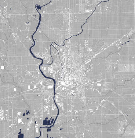 map of the city of Indianapolis, USA 矢量图像