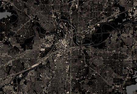 map of the city of Fort Worth, Texas, USA 免版税图像
