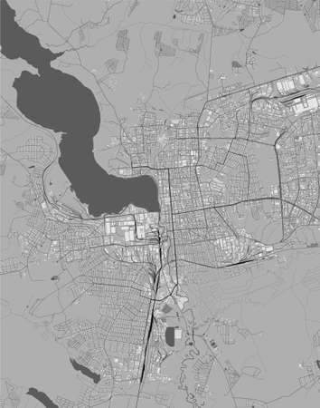 map of the city of Izhevsk, Russia 矢量图像