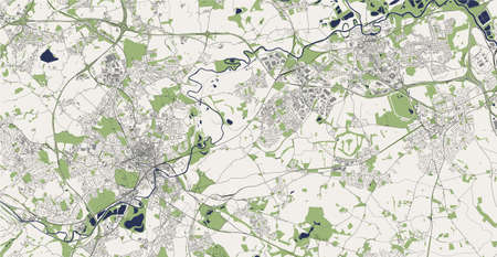map of the city of Wakefield, England, UK