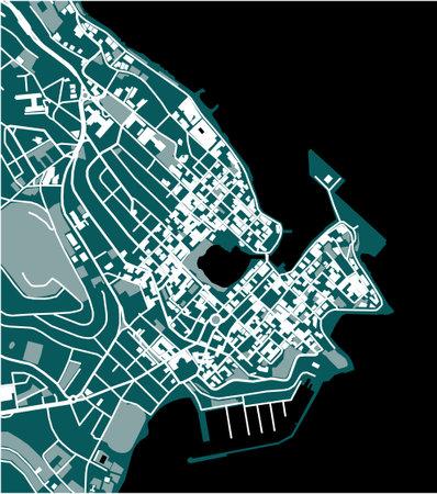 map of the city of Agios Nikolaos, Greece Ilustração