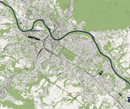 map of the city of Dresden, Saxony, Germany