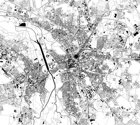 map of the city of Leipzig, Saxony, Germany