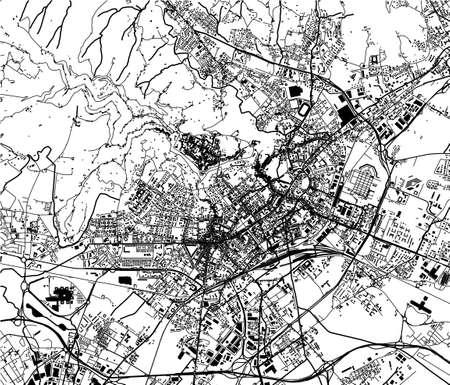 map of the city of Bergamo, Lombardy, Italy