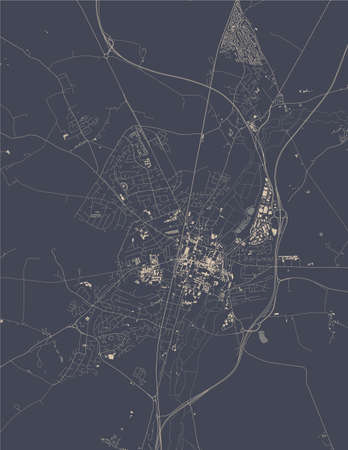 map of the city of Winchester, England, UK