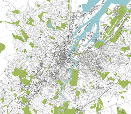 map of the city of Belfast, Northern Ireland, UK Ilustração