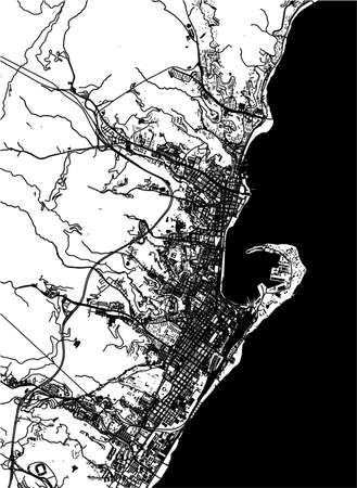map of the city of Messina, Sicily, Italy