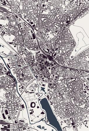 map of the city of Hanover, Germany Ilustração