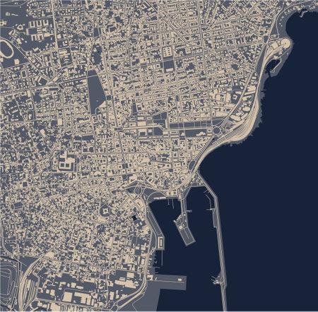 map of the city of Catania, Sicily, Italy
