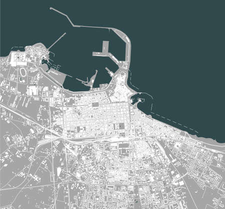 map of the city of Bari, Apulia, Italy