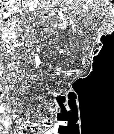map of the city of Catania, Sicily, Italy