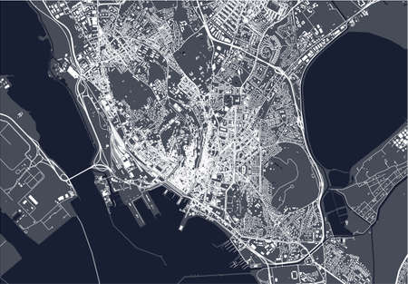 map of the city of Cagliari, Sardinia, Italy