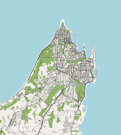 map of the city of Rhodes, Greece Иллюстрация