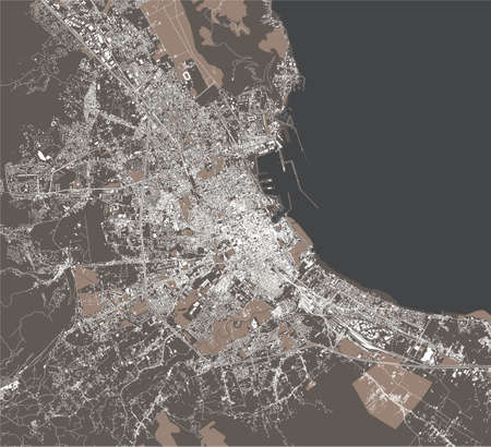 map of the city of Palermo, Sicily, Italy