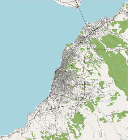 map of the city of Patras, Greece