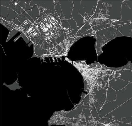 map of the city of Taranto, Italy