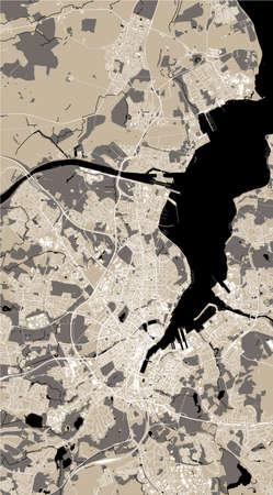 map of the city of of Kiel, Germany Stock Illustratie