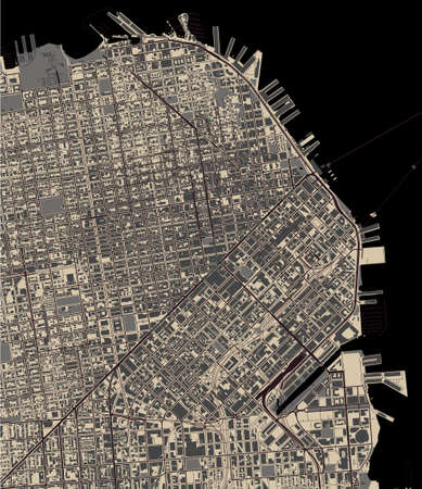 map of the city of San Francisco, USA