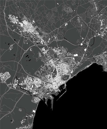 map of the city of Alicante, Spain Stock Illustratie