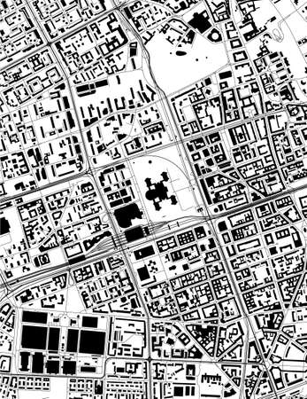 map of the city of of Warsaw, Poland