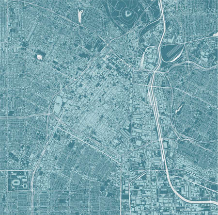 map of the city of Downtown Los-Angeles, USA 矢量图像