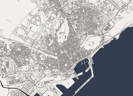 map of the city of Alicante, Spain 矢量图像