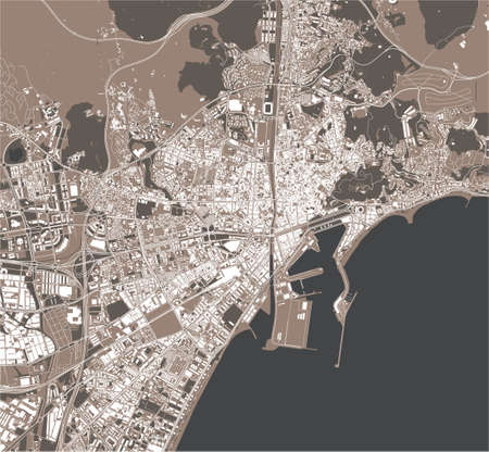 map of the city of Malaga, Spain