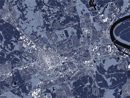 map of the city of Krefeld, Germany 矢量图像