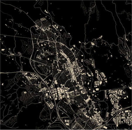 map of the city of Sabadell, Spain 矢量图像