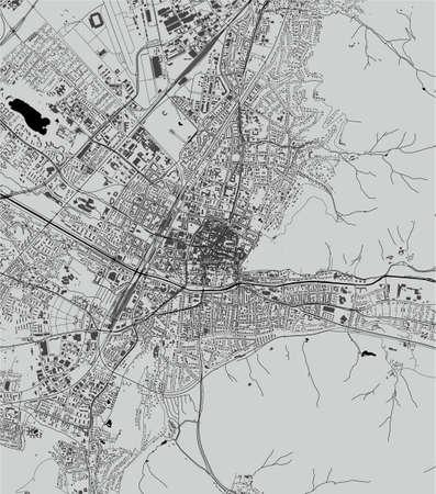 map of the city of Freiburg im Breisgau, Germany 矢量图像