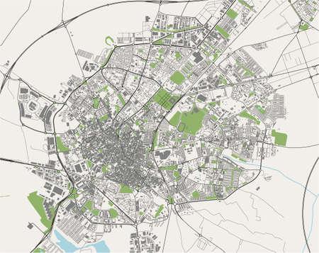 map of the city of Jerez de la Frontera, Spain 矢量图像
