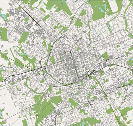 map of the city of Krefeld, Germany Ilustração
