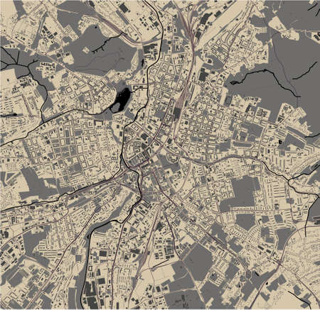 map of the city of Chemnitz, Germany