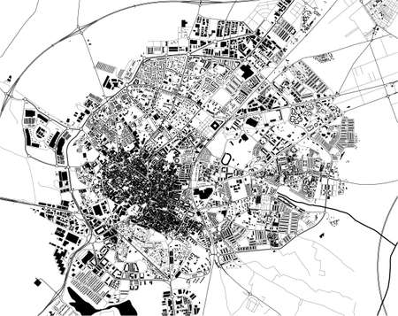 map of the city of Jerez de la Frontera, Spain Ilustração