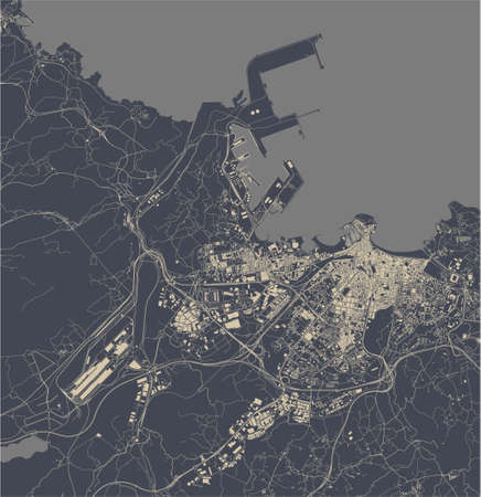 map of the city of Gijon, Spain