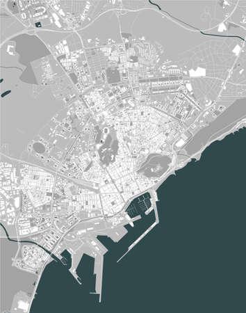 map of the city of Alicante, Spain Ilustração