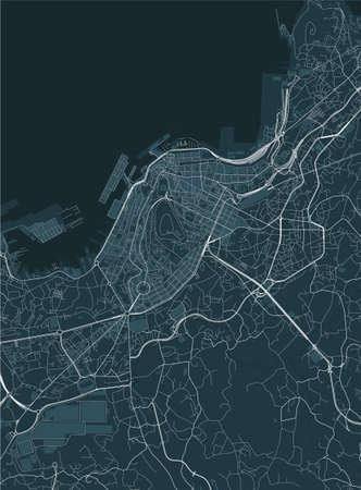 map of the city of Vigo, Spain Ilustração