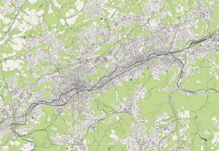 map of the city of Wuppertal, Germany