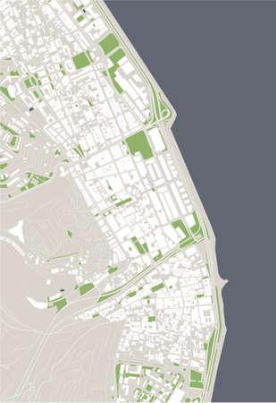 map of the city of Las Palmas de Gran Canaria, Spain Ilustração