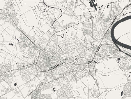 vector map of the city of Krefeld, Germany