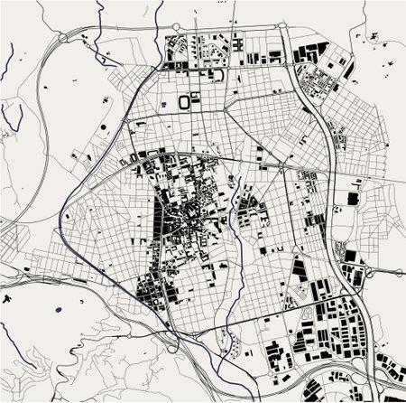 map of the city of Terrassa, Spain Ilustração