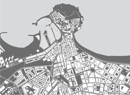 vector map of the city of Gijon, Spain