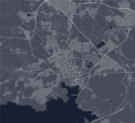vector map of the city of Cartagena, Spain