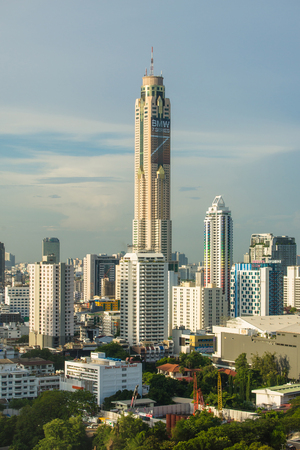 BANGKOK - JUNE 2: View of Bangkok city and Baiyok Sky hotel on 2 JUNE 2016. Baiyoke Sky Hotel, the tallest hotel in Southeast Asia and the third-tallest all-hotel structure in the world Editorial