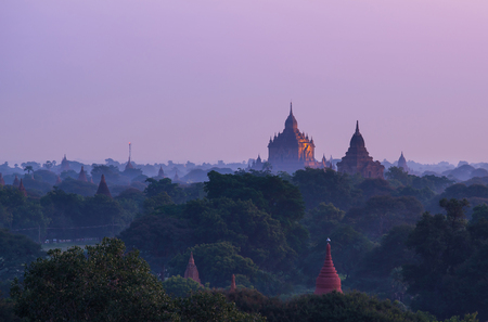 Old pagoda field sunrise time at Bagan, Bagan is ancient city with thousands of ancient temples in Myanmar