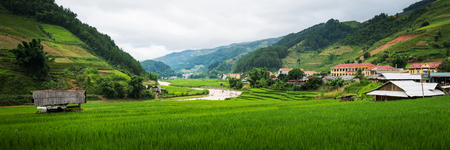 beautiful landscape rice terrace view in mu cang chai , yen bai , vietnam Stock Photo