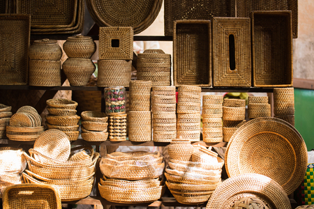 Stacks of empty handmade bamboo weaved baskets Stock Photo