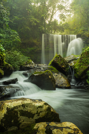 Tad Sua waterfall, waterfall .Landscape of waterfall in deep rain forest of Bolaven Plateau,Laos Stock Photo
