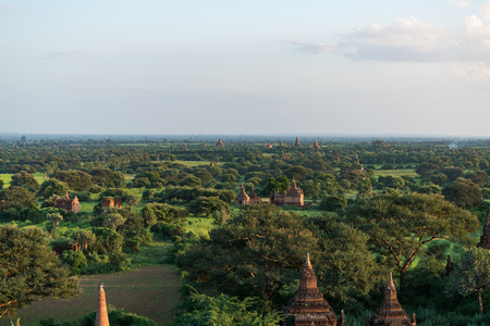 Old pagoda field at Bagan, Bagan is ancient city with thousands of ancient temples in Myanmar