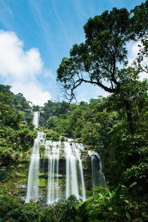 Tad Khameud, A big waterfall in deep forest at Bolaven plateau, Pakse, Laos.